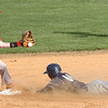 #00 for Rye Cove beats the throw to second as #15 for Twin Springs makes the play. Photo by Ned Jilton II