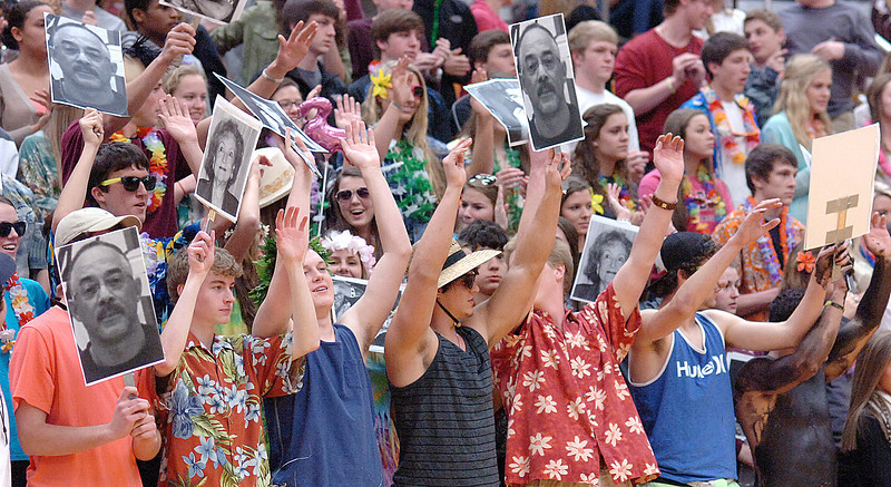 Dobyns Bennett's fans get fired up for the game in Hawaiian motif. Photo by Ned Jilton II