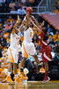 January 20, 2013: guard Kamiko Williams #4  and forward Bashaara Graves #12 of the Tennessee Lady Volunteers defend during the NCAA basketball game between the University of Tennessee  Lady Vols and the University of Alabama Crimson Tide at Thompson-Boling Arena in Knoxville, TN