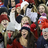 Tewksbury fans make some noise at a TV camera.  (SUN/Julia Malakie)