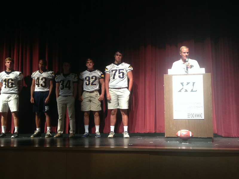 Coach Chadwick introduced his players from Marist High School