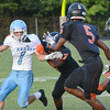 #1 for Sullivan South attempts to turn the corner against stiff Elizabethton defense. Photo by Ned Jilton II