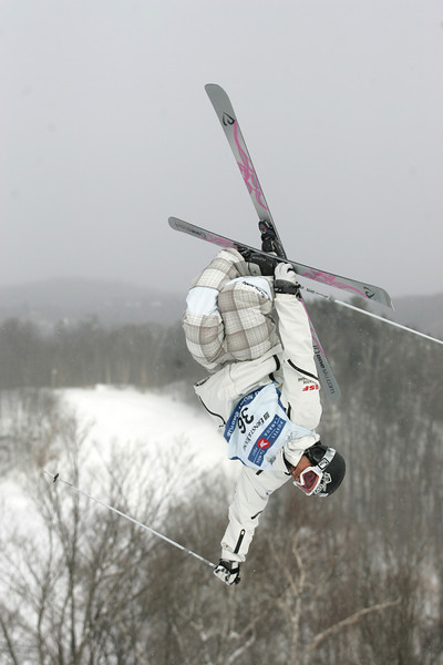 Julien Bedel of France jumps in moguls training for a FIS freestyle World Cup at Mont Gabriel in Saint Adele, Que., Friday, Jan.  25, 2008.  <br /> Photo by Mike Ridewood/FIS