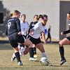 Allison Bryson weaves through traffic against the Valley Vikings on Friday. The Ladycats beat the visiting Vikings 2-1.