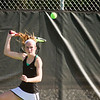 SAM HOUSEHOLDER | THE GOSHEN NEWS<br /> Concord No. 1 singles player Jenna Landis hits the ball Wednesday during the sectional match at Elkhart Central High School.