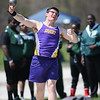Avon's Paul Sturm puts the shot at the Reynold's Relays in Avon.  Photo by Ray Riedel