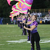 Courtney Mayer performs in the Vermilion flag corps during half-time. photo by Ray Riedel
