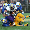 Vermilion's Brenden Zannoni is brought down by the Clearview defense after a short gain. photo by Ray Riedel