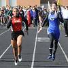 Savannah Rankin of Elyria and Heather Younkin of Clearview race in the girls 100 meter dash preliminaries. STEVE MANHEIM/CHRONICLE