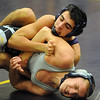 Avon's Adam Kirresh, top, downs Clearview's Jacob Corcino at 132 pounds Thursday in a quad meet at Avon. STEVE MANHEIM/CHRONICLE