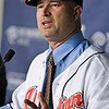 Cleveland Indians manager Manny Acta speaks to the media at a news-conference Monday, Oct. 26, 2009, in Cleveland. Acta, fired as the Washington Nationals manager in July after 2 1/2 seasons, was hired on Sunday by the Indians, who gave him a three-year contract with a club option for 2013. Additional terms of the deal were not disclosed. (AP Photo/Tony Dejak)