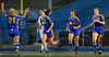 Wayzata's lone goal scorer, senior forward Summer Johnson (6) celebrates with teammates Kiana Nickel (21), Madeline Eklin (10) and Marika Kelly (16) Thursday, Sept. 20, at Minnetonka.  The Skippers and Trojans ended the game in overtime tied 1-1.