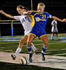Skippers junior forward Diana Draayer (16) fights for the ball with Wayzata senior midfielder Kiana Nickel (21) in the first half of the Skippers and Trojans 1-1 tie Thursday, Sept. 20, at Minnetonka.