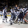 Ralston Valley players celebrate victory at the goal after defeating Monarch during the Colorado State Ice Hockey Championship game on Friday, March 1, at at Magness Arena in Denver. Monarch lost the game 5-1. For more photos of the game go to www.dailycamera.com  Jeremy Papasso/ Camera