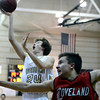 Monarch High School'sAlex Krason takes a shot behind Robert Hale during a game against Loveland High School on Tuesday, Feb. 5, at Monarch High School in Louisville. For more photos of the game go to www.dailycamera.com Jeremy Papasso/ Camera