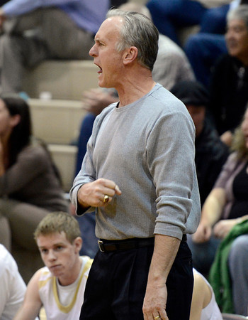 Monarch High School Head Coach Ken Niven shows his frustration after a bad call by the referee during a game against Loveland High School on Tuesday, Feb. 5, at Monarch High School in Louisville. For more photos of the game go to www.dailycamera.com Jeremy Papasso/ Camera