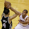 San Antonio Spurs shooting guard Danny Green (4) looks to pass as Miami Heat small forward Shane Battier (31) defends during the first half of Game 6 of the NBA Finals basketball game, Tuesday, June 18, 2013 in Miami. (AP Photo/Wilfredo Lee)