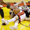 San Antonio Spurs center Tiago Splitter (22) of Brazil and Miami Heat power forward Chris Andersen (11) vie for a loose ball during the first half of Game 6 of the NBA Finals basketball game, Tuesday, June 18, 2013 in Miami. (AP Photo/Wilfredo Lee)