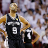 San Antonio Spurs' Tony Parker (9) reacts to play against the Miami Heat during the first half in Game 7 of the NBA basketball championship on Thursday, June 20, 2013, in Miami. (AP Photo/Lynne Sladky)