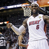 Miami Heat small forward LeBron James (6) reacts after being fouled during the second half in Game 7 of the NBA basketball championship against the San Antonio Spurs, Thursday, June 20, 2013, in Miami. (AP Photo/Lynne Sladky)