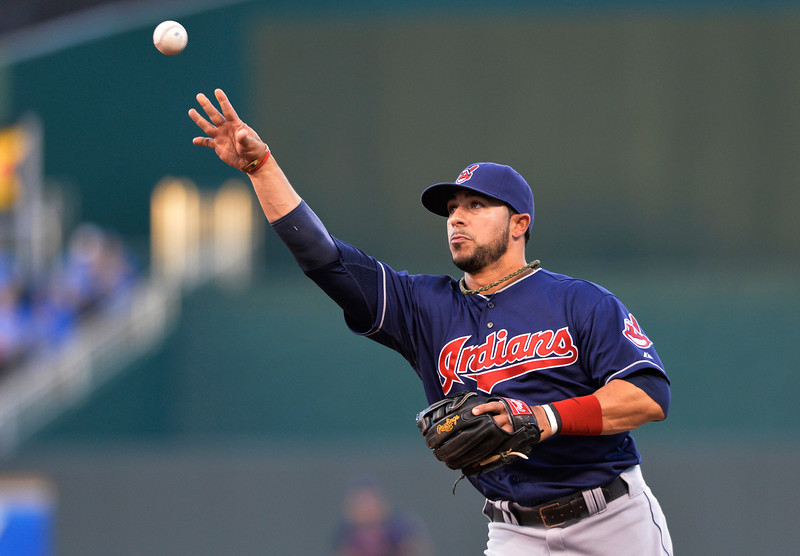 Cleveland Indians second baseman Mike Aviles  throws to first for an out in the second inning of their second baseball game against the Kansas City Royals, Sunday, April 28, 2013, in Kansas City, Mo. (AP Photo/Reed Hoffmann)