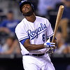 Kansas City Royals' Lorenzo Cain at bat against the Cleveland Indians in the  eighth inning of their second baseball game of a doubleheader, Sunday, April 28, 2013, in Kansas City, Mo. (AP Photo/Reed Hoffmann)