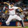 Cleveland Indians starting pitcher Justin Masterson delivers against the Kansas City Royals in the seventh inning of a baseball game Wednesday, June 19, 2013, in Cleveland. (AP Photo/Mark Duncan)