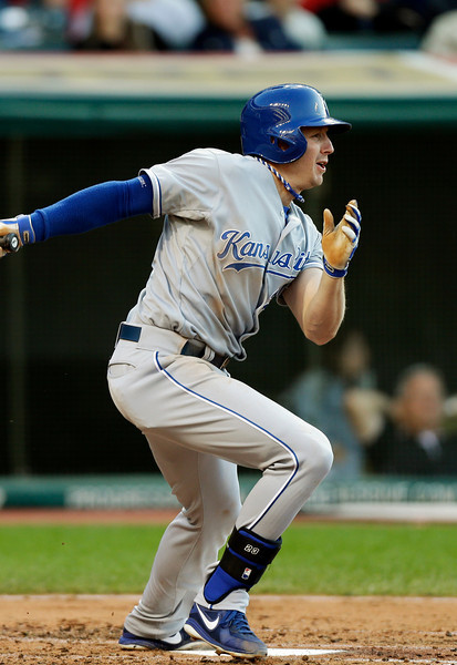 Kansas City Royals' Elliot Johnson singles off Cleveland Indians starting pitcher Justin Masterson to drive in a run in the fourth inning of a baseball game on Wednesday, June 19, 2013, in Cleveland. (AP Photo/Mark Duncan)