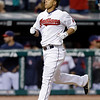 Cleveland Indians' Michael Brantley jogs home after a solo home run against the Kansas City Royals in the eighth inning of a baseball game on Wednesday, June 19, 2013, in Cleveland. The home run, Brantley's second of the game, paced the Indians to a 6-3 win. (AP Photo/Mark Duncan)