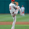 Philadelphia Phillies starting pitcher Cliff Lee delivers a pitch in the first inning of a baseball game against the Cleveland Indians, Wednesday, May 1, 2013, in Cleveland. (AP Photo/Tony Dejak)