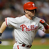 Philadelphia Phillies' Michael Young runs out a ground ball in the seventh inning of a baseball game against the Cleveland Indians, Wednesday, May 1, 2013, in Cleveland. Young was out. (AP Photo/Tony Dejak)