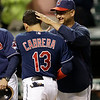 Cleveland Indians manager Terry Francona, right, congratulates Asdrubal Cabrera after they defeated the Philadelphia Phillies 6-0 in a baseball game on Wednesday, May 1, 2013, in Cleveland. (AP Photo/Tony Dejak)