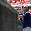 Cleveland Indians manager Terry Francona watches from the dugout during a baseball game against the Cincinnati Reds, Monday, May 27, 2013, in Cincinnati. (AP Photo/David Kohl)