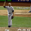 American League's Mariano Rivera, of the New York Yankees, acknowledges the crowd as he is introduced during the eighth inning of the MLB All-Star baseball game, on Tuesday, July 16, 2013, in New York. (AP Photo/Frank Franklin II)
