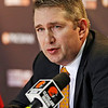 Cleveland Browns head coach Rob Chudzinski discusses the first round of the NFL football draft at the team's practice facility in Berea, Ohio on Thursday, April 25, 2013. The Browns selected LSU linebacker Barkevious Mingo  as their first pick and sixth overall in the draft. (AP Photo/Mark Duncan)
