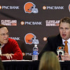 Cleveland Browns head coach Rob Chudzinski, right, discusses the first round of the NFL draft with CEO Joe Banner at the football team's practice facility in Berea, Ohio, Thursday, April 25, 2013. The Browns took LSU linebacker Barkevious Mingo as their sixth overall pick. (AP Photo/Mark Duncan)