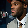 Barkevious Mingo from LSU speaks during a news conference after being selected sixth overall by the Cleveland Browns in the first round of the NFL football draft, Thursday, April 25, 2013, at Radio City Music Hall in New York. (AP Photo/Craig Ruttle)