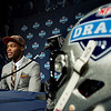 Barkevious Mingo, of Louisiana State, speaks during a news conference after being selected sixth overall by the Cleveland Browns during the first round of the NFL football draft, Thursday, April 25, 2013, at Radio City Music Hall in New York. (AP Photo/Craig Ruttle)