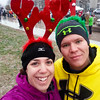Getting ready to head to the start line at the Jingle All The Way 8k 2013...and yes that is snow.