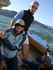 "Ron Young and Joan Wheeler, lady friend - Sailing on San Francisco Bay on Ron Young's classic wooden boat ""Youngster"""