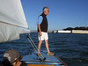 "Ron Young checking our windage - Sailing on San Francisco Bay on Ron Young's classic wooden boat ""Youngster"""