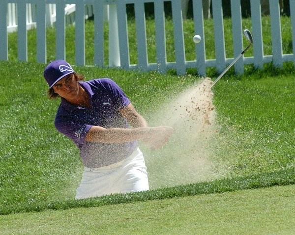 Rickie Fowler out of the trap at 17<br /> <br /> Event Coverage - Third Round of AT&T National - in Bethesda MD at Congressional Country Club - June 29 - Afternoon.