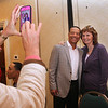 Former Red Sox player Dave Roberts who stole second and scored the tying run in the 9th inning of Game 4 of the 2004 ALCS against the Yankees, poses for a photo with Kathy McDonnell of Lowell, at the annual Lowell Spinners Hot Stove Dinner. (SUN/Julia Malakie)