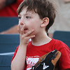 Lowell Spinners vs Williamsport Crosscutters baseball. Oliver Lehrer, 3, of Cambridge, watches the Mario cars race between innings. (SUN/Julia Malakie)