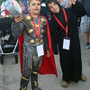 Lowell Spinners vs Williamsport Crosscutters baseball. Tristan Friedman, 7, of Acton, left, as Thor from the Avengers, and his brother Logan, Friedman, 9, as a Sith lord from Star Wards, dressed for superhero night at LeLacheur Park. (SUN/Julia Malakie)