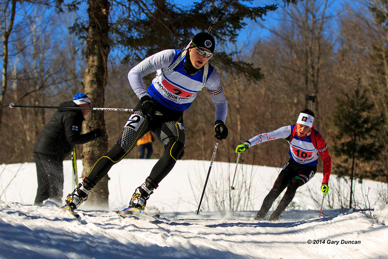 Relay first lap, Alex in 2nd chasing the Russian World Youth / Junior Biathlon Championships March 6, 2014