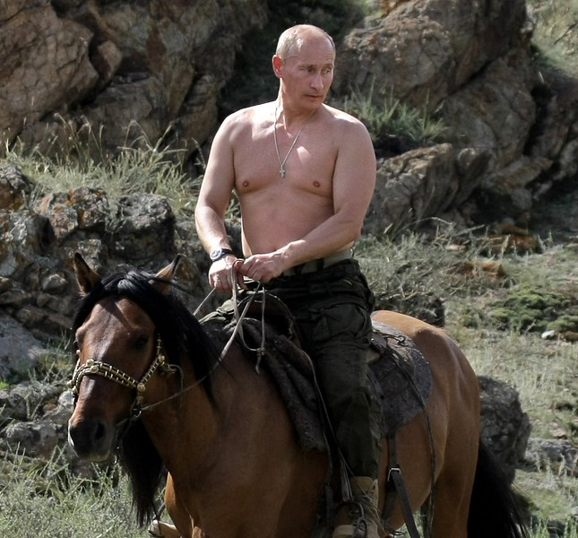 """38. VLADIMIR PUTIN <p>He's not Hitler, because Hitler had the DECENCY to cover his man boobs. </p><p><b><a href=""""http://www.dailymail.co.uk/news/article-2713032/Kremlin-mocks-Obamas-masculinity-tweeting-picture-holding-poodle-Putin-petting-leopard.html"""" target=""""_blank""""> LINK </a></b> </p><p><br>    (Alexsey Druginyn/AFP/Getty Images)</p>"""