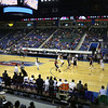 UMass Lowell vs Duquesne men's basketball, on the Tsongas Center's new basketball court purchased by longtime UMass Lowell supporter John Kennedy (Lowell Tech Class of 1970) as part of his support of UML's move to Division 1. (SUN/Julia Malakie)