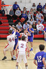 Danville's Alex Felland (#25), Trevor Elliott (#35), Mason Lorber (#12) and Harmony's Aaron Fitzsimmons (#44), Winston Wallingford (#2) and Stephen Towsend (#22)
