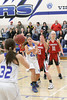 Danville's Allie Boyer (#22), Emily Cameron (#32) and Cardinal's Lexi Fullenkamp (#21) and Delaney Ridgway (#31)